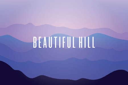 beautiful hill view landscape vector. vector banner. illustration. EPS10 Çizim