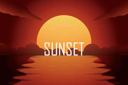 sunset. beautiful sunset. landscape sunset. landscape vector for wallpaper, background, web, banner. full color vector. illustration. EPS10 Illustration