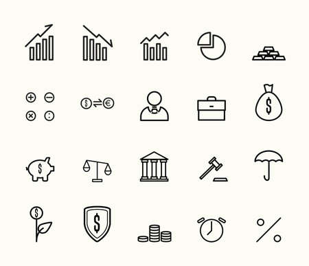 finance and bank icon. black and white vector icon. editable line. EPS10 Illusztráció