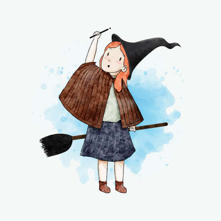 witch. watercolor illustration. special for halloween. vector. EPS 10 Иллюстрация