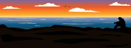alone in the dark: Sunset Illustration