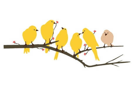 wall decal: Yellow Birds decal for wall Illustration