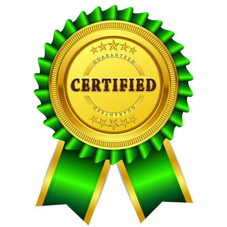 Certidied Guaranteed Green Seal, Label Icon Vectores