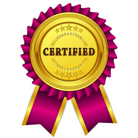 satisfaction guaranteed: Certidied Guaranteed Pink Seal, Label Icon