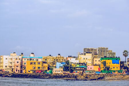 colorfull houses in mumbai city india 写真素材