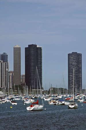 Marina off the shore of the city. photo