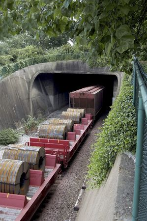 gravelly: Cargo train going into tunnel.