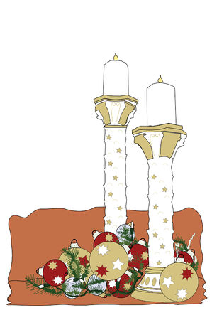Illustration of Christmas candles with ornaments. Illustration