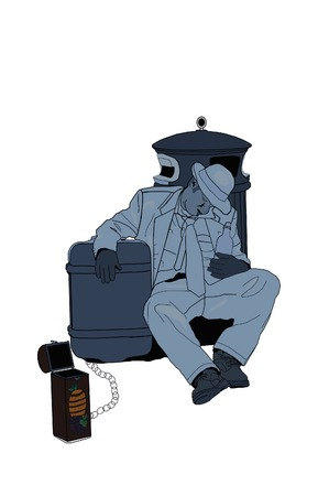 Illustration of a wino sleeping with collection box. 向量圖像