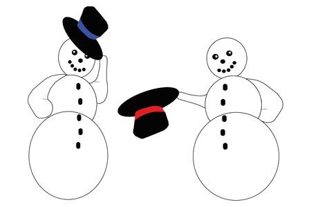 Two snowmen saying hello.