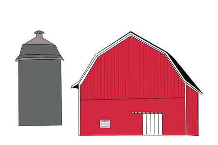 farm structure: Classic red barn with silo.