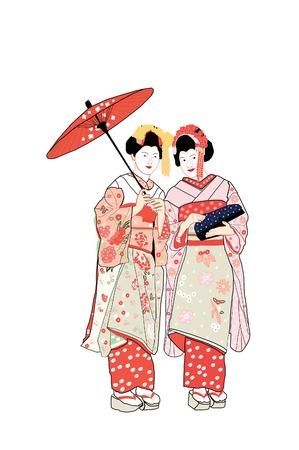 donna giapponese: Due Geisha Girls Vettoriali