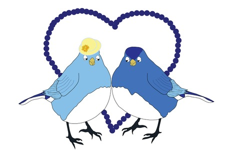Two blue birds in love Vectores