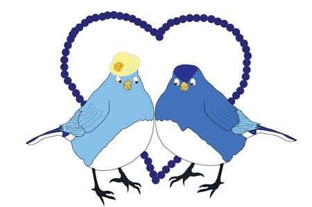 Two blue birds in love 向量圖像