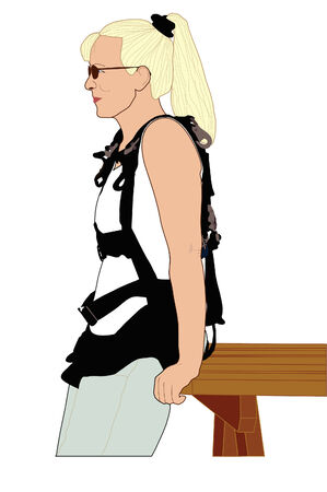 skydive: Girl waiting to skydive. Illustration