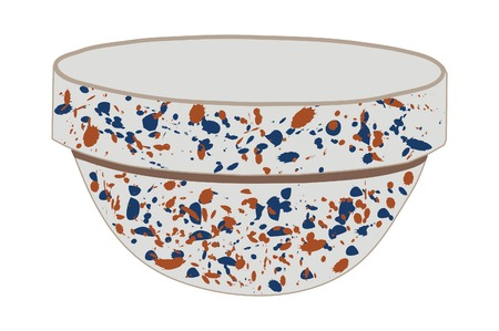 stoneware: Spongeware design bowl with blue and orange sponge. Illustration