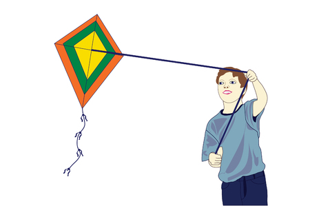 Young boy flying his kite.