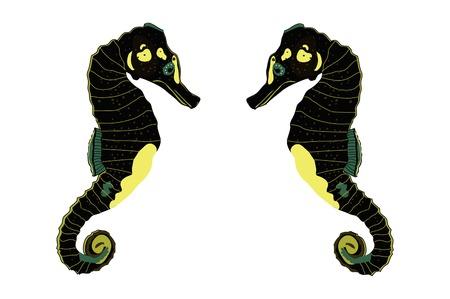 Two black sea horse illustration.
