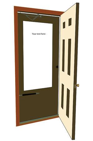 Advertising six panel door open to? Illustration
