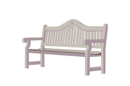garden furniture: Wooden Park Bench Illustration