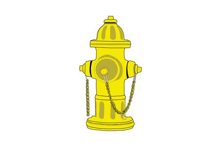 Geïsoleerde tekening van een gele brandkraan.