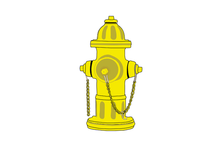 fire plug: Isolated drawing of a yellow fire hydrant. Illustration