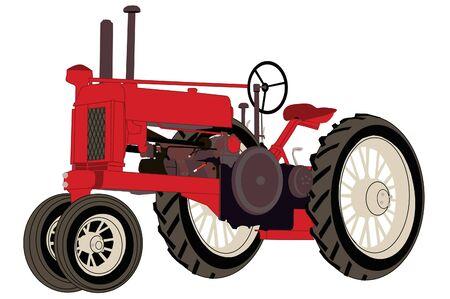 Antique red farm tractor classic.