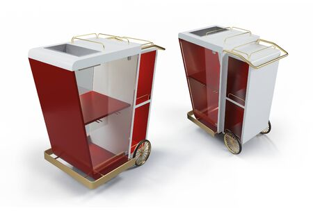 Trolley with drinks, Portable bar mockup 3D Banque d'images