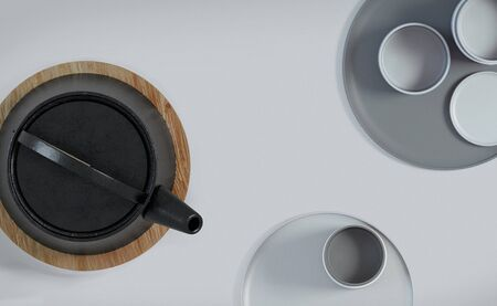 Modern black cast iron teapot with levitating cups, art set for tea time. 3d rendering. Фото со стока