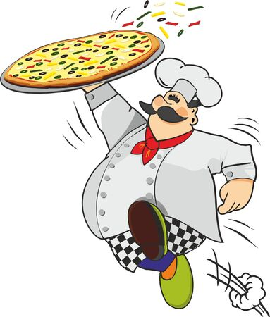 runing: chef carrying pizza Illustration