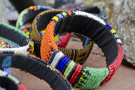 colorful beads: These are examples of the fine craftmanship demonstrated by this beadwork by the Ndebele tribe in Joahnnesburg South Africa