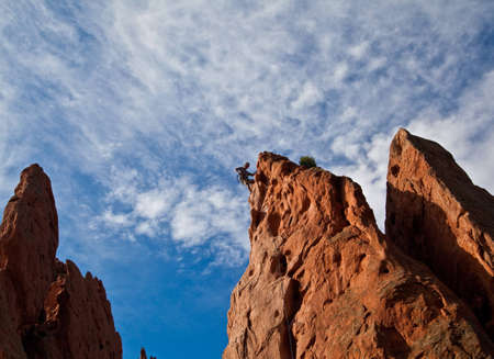 Rock Climber in Garden of the Gods State Park in Colorado