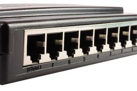 tera: Rear view of a 8 ports hub. The photo contains a clipping path