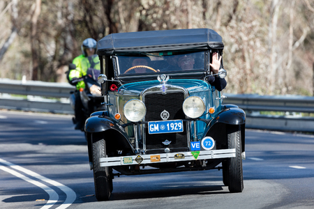 Adelaide, Australia - September 25, 2016: Vintage 1929 Chevrolet AC Phaeton driving on country roads near the town of Birdwood, South Australia.