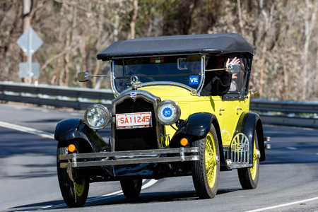 Adelaide, Australia - September 25, 2016: Vintage 1925 Buick Standard Tourer driving on country roads near the town of Birdwood, South Australia. Editorial