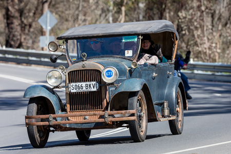 Adelaide, Australia - September 25, 2016: Vintage 1929 Essex Super Six Tourer driving on country roads near the town of Birdwood, South Australia. Editorial