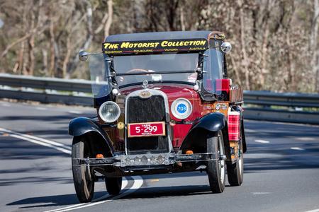 Adelaide, Australia - September 25, 2016: Vintage 1928 Chevrolet National Utility (Ute) driving on country roads near the town of Birdwood, South Australia. Editorial