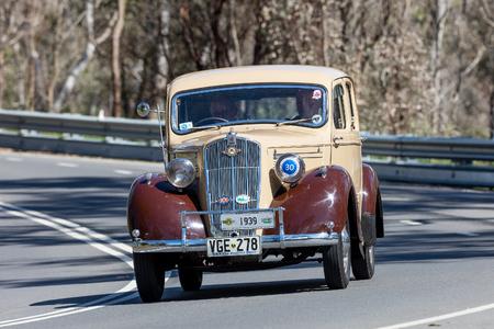 Adelaide, Australia - September 25, 2016: Vintage 1939 Morris M10 Saloon driving on country roads near the town of Birdwood, South Australia. Editorial