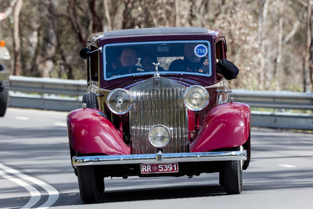 Adelaide, Australia - September 25, 2016: Vintage 1935 Rolls Royce 2025 Sports driving on country roads near the town of Birdwood, South Australia. Editorial