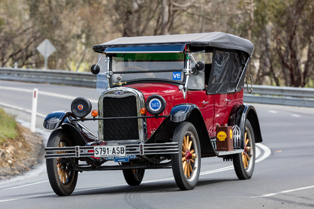Adelaide, Australia - September 25, 2016: Vintage 1925 Chevrolet Superior K Sedan driving on country roads near the town of Birdwood, South Australia.
