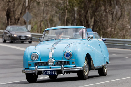 Adelaide, Australia - September 25, 2016: Vintage 1951 Austin A90 Atlantic Convertible driving on country roads near the town of Birdwood, South Australia. Editorial