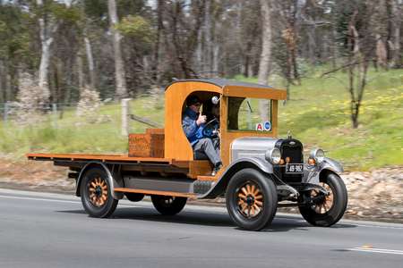 Adelaide, Australia - September 25, 2016: Vintage 1926 Chevrolet Superior K Truck driving on country roads near the town of Birdwood, South Australia.