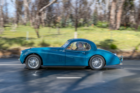 Adelaide, Australia   September 25, 2016: Vintage 1953 Jaguar XK 120 Coupe  Driving