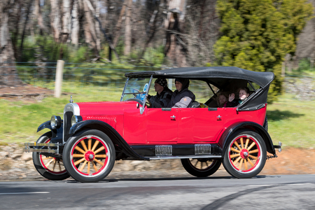 Adelaide, Australia - September 25, 2016: Vintage 1925 Chevrolet Superior K Tourer driving on country roads near the town of Birdwood, South Australia. Editorial