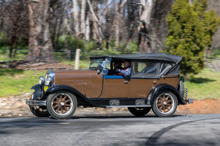 Adelaide, Australia - September 25, 2016: Vintage 1929 Oldsmobile FR Tourer driving on country roads near the town of Birdwood, South Australia.