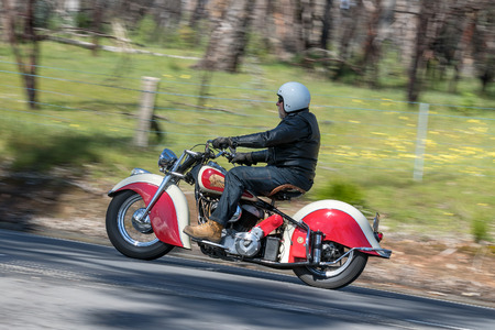Adelaide, Australia - September 25, 2016: Vintage Indian Motorcycle on country roads near the town of Birdwood, South Australia. Editorial