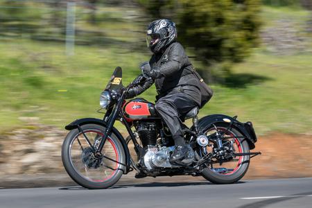 Adelaide, Australia - September 25, 2016: Vintage Ariel Motorcycle on country roads near the town of Birdwood, South Australia.