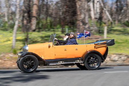 Adelaide, Australia - September 25, 2016: Vintage 1926 Morris Cowley Tourer driving on country roads near the town of Birdwood, South Australia. Editorial