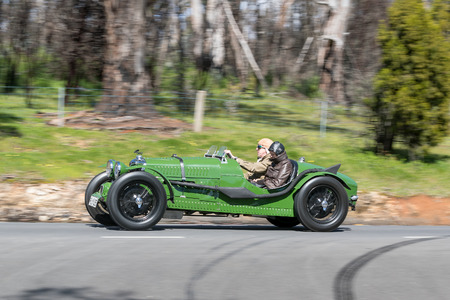 Adelaide, Australia - September 25, 2016: Vintage 1935 Riley 124 Special driving on country roads near the town of Birdwood, South Australia.