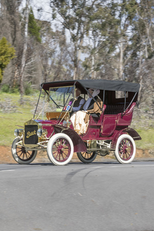 Adelaide, Australia - September 25, 2016: Vintage 1906 Buick F Tourer driving on country roads near the town of Birdwood, South Australia. Editorial